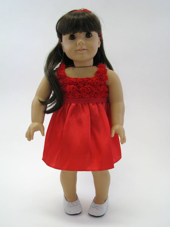 Red Flower Holiday Dress & Headband - 18 Inch Doll Clothes