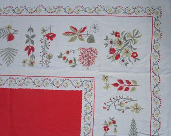2 Vintage Orange Printed Kitchen Tablecloths Flowers Spices White Crepe Cotton
