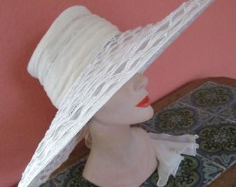 Huge Kokin Sheer Lattice  Braid White Ivory Sun Shade Hat Wide Brim Bridal Wedding Scarf