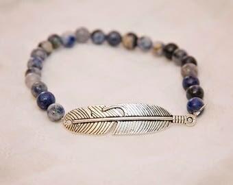 Feather charm bracelet, gemstone stretch bracelet, sodalite stone jewelry, stackable jewelry, boho chic fashion, feather charm jewelry