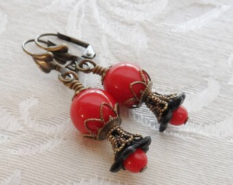 75% Off Clearance Sale, Lily Blossom Earrings, Vintage Beads, Red and Black