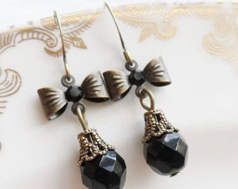 75% Off, Sweet Alice, Bow Earrings with Black Czech Glass Bead and Swarovski Crystal