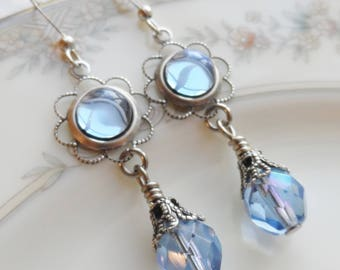 75% Off Clearance Sale, Pale Blue , Vintage Glass Cameo, Antique Silver Finish