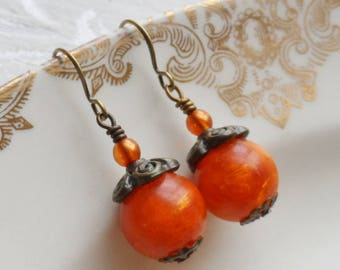 50% Off-Apricot, Vintage Bead Earrings, Orange Czech Glass Bead, Antique Brass
