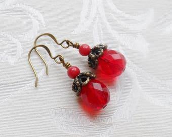 50% Off- Red Jade Bead, Ruby Czech Glass Earrings, Antique Brass