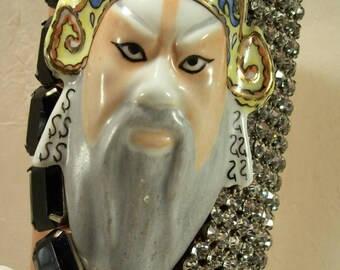 Curated Found Objects Asian Oriental Gauntlet Opera Mask Art Cuff Bracelet Huge Original Shelf Sitter Rare OOAK Statement Asymmetrical Glam