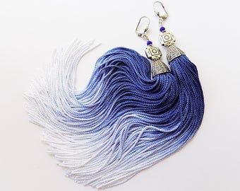 Tassel Earrings, Blue Tassle, Blue and white, Summer Jewelry, Beach earrings, Cobalt blue earrings, Bohemian blue, bohemian earrings, gift