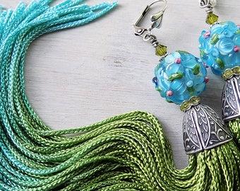 Tassel Earrings - Gypsy Earrings- Bellydance Earrings - Bohemian Earrings - Boho Jewelry- Festival Earrings - Hippie - Green Aqua  Blue Gold