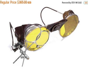 Steampunk Goggles C00L YELLOW Tint Antique Aviator Vintage AMERICAN OPTICAL Driving Glasses Burning Man Leather Side Shields - by edmdesigns
