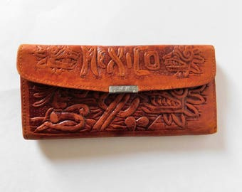 Vintage Hand Tooled Leather Mexican Wallet