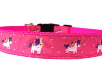 1 Inch Wide Dog Collar with Adjustable Buckle or Martingale in Magic Unicorn
