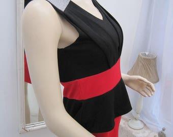 90's peplum red dress, peplum dress, red dress, red black dress, vintage red dress