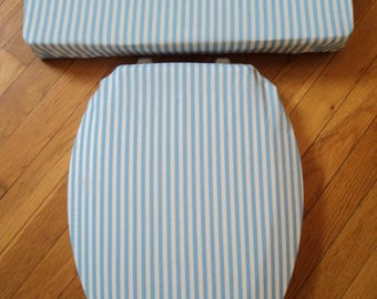 Powder Blue Stripe  Toilet Seat Cover Set