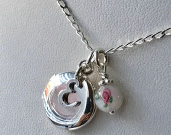 Girls Locket Necklace, Flower Girl Locket Necklace, Children Locket Necklace, Round Locket Necklace, Little Initial Locket Necklace