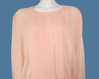 Summer Sale Vintage Pink Blouse// Romantic Blouse// Long Sleeve Shirt// Pale Pink Top// Size L // 207