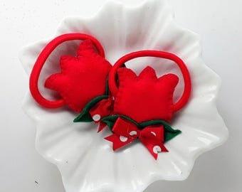 Hair ties - Hair bobbles pair of handmade padded Red Tulips hair ties, Red tulip bobbles, Red tulip pigtail holders,