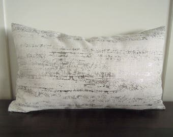 Silver and White Pillow Cover,  Decorative Pillow, 12x20, Metallic Pillow, Shimmery Pillow, Accent Pillow