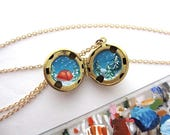 Snow Camping Adventure, Hand-Painted in Oil Enamel, Meteor Shower Locket Necklace