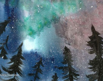 Set of five Yuletide Greeting Cards Nothern Lights Aurora Borealis Winter Solstice Cards Yuletide Cards Christmas Cards With Envelopes