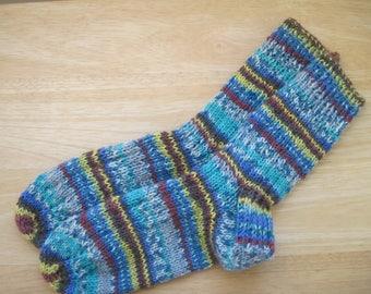 HAND KNIT SOCKS Adult Wool Turquoise Blue Rust Stripes