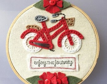 Enjoy The Journey - Red Bike Hoop Art w/ Flowers