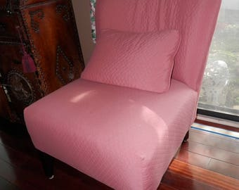 Mid Century Mauve Designer Slipper Chair with  Pillow  1960's