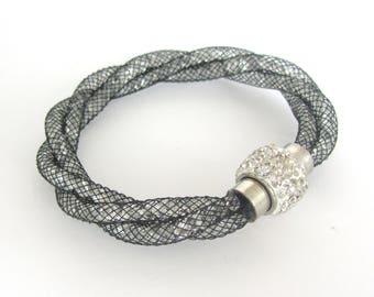 Black Mesh Bracelet, Crystal Bracelet, Black Bracelet, Rhinestone Clasp, Rhinestone Bracelet, Magnetic Bracelet, Magnetic Clasp