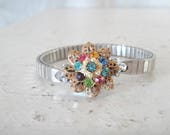 Vintage Filled Bracelet, Colorful Rainbow Rhinestone and Pearl Gold Filigree Focal on Silver Stretch Wrist Watchband Bracelet, One of a Kind