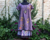 Purple Ancestry Cloth Tunic - overdyed repurposed cotton dress, wearable art, handmade clothing, OOAK unique art clothing by Dawn Patel