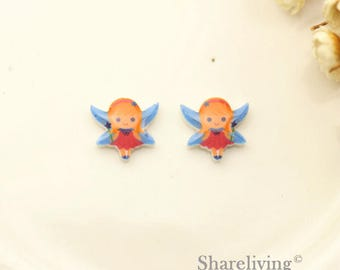 4pcs (2 pairs) Mini Resin Fairy Charm / Pendant, Stud Earring, Laser Cut Tiny Fairy Earring, Perfect for Earring - YED033Z