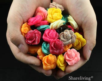 Clearance Sale -  Lots of 100pcs Mixed Color 3D Resin Flower Cabochons Charms  -- CLS004K