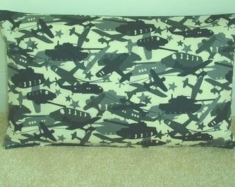 "Military Vehicles Pillow Cover 12x20 Oblong Bolster Cushion Sham Chinook Fighter Plane Tank Black Grey 16"" Kid's Veteran Cadet Case Gray"
