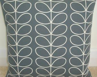 "24x24 Orla Kiely Zippered Pillow Cover Linear Stem Cool Grey 24"" Square Floor Large Accent Decorative Cushion Case Sham Slip Retro Gray"