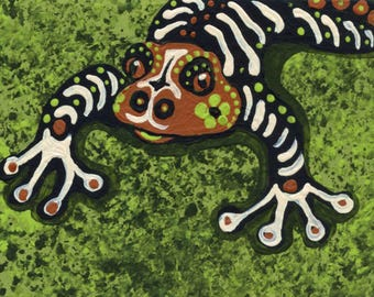 ACEO ATC Original Gouache Painting Sugar Skull Frog Day of the Dead Art-Carla Smale