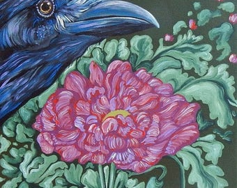 Dog Days of Summer Raven Crow Bird 10 x 10 Original Canvas Wildlife Painting Art-Carla Smale