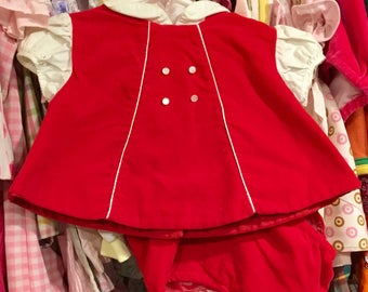 Red Velvet Dress and Bloomers 0/3 Months