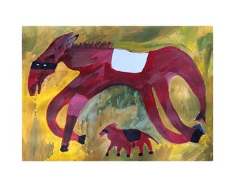 Original Faye Moorhouse painting - A Thieving Horse and Her Accomplice - free international shipping
