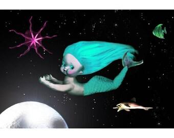 mermaid print 5 x 7 Sea Of Tranquility