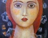 Special Price Free Shipping Painting Print  Modern Folk Art woman face birds ethereal inner peace
