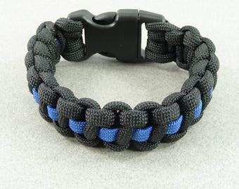 THIN BLUE LINE Paracord Bracelet Police Dept Black Blue Law Enforcement Officer