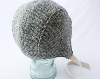Aviator Hat, Gray and Cream, Herringbone Wool, Womens Hat, Winter Hat, Warm Hat, Winter Cycling, Graphite Gray, Gift for Her, Retro Hat, Fun
