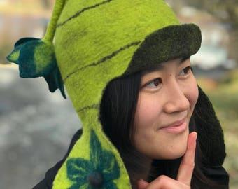 Felt hat- Merinon Wool- Dangling Flower Ear Flaps
