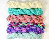 ice cream lick ... handspun yarn set, weaving creative yarn bundle, hand spun, hand dyed yarn, handspun art yarn