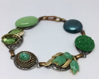 1950s Lucite Shades of Green Bracelet