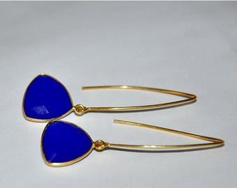 Gold Earrings,  Blue Earrings,   Gemstone Jewelry,  Dangle Earrings,  Blue Chalcedony,  Gemstone Earrings,  Fashion Jewelry