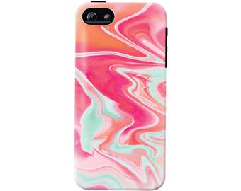 Pink and Mint Marble Phone Case (fits all types of phones) - Tough case with rubber bumper and liner