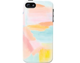 Pastel Abstract Art Cell Phone Case (fits all types of phones) - Pastel Abstract Pattern - Tough case with rubber bumper and liner