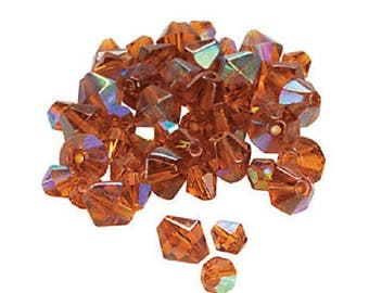 Topaz Aurora Borealis Cut Crystal Bicone Beads, 4mm to 6mm, pack of 48