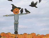 scarecrow and crows in the pumpkin patch - signed art print 8X10 inches by Sarah Knight, halloween home decor orange brown fall autumn