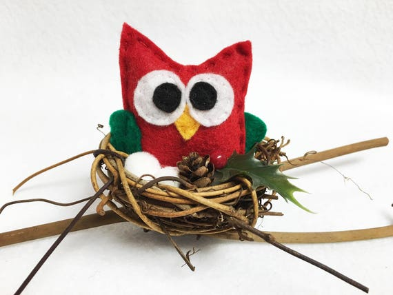 Owl Nest, Christmas Decoration, Nancy the Owl, Winter Branch, Snow and Berries
